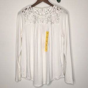 NWT Philosophy Lace Detailed Long Sleeve Top Sz M